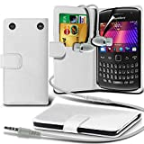 Fone-Case ( White ) Blackberry Curve 9360 Faux Stylish PU Leather Wallet Credit / Debit Card Flip Case Skin Cover With Screen Protector Guard & Aluminium In Ear Earbud Stereo Hands Free Headphones Earphone Headset with Built in Microphone Mic & On-Off Bu