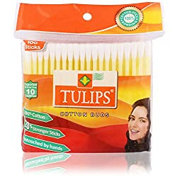Tulips Cotton Ear Buds - 100 Sticks Pack