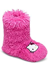 Hello Kitty Deluxe Pink Shag Slippers Boots Junior / Women Size 7 - 8
