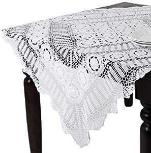 Amazon.com - SARO LIFESTYLE 869 Crochet Tablecloths, 72-Inch, Round