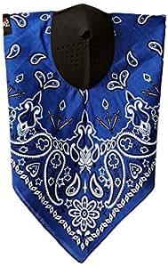 ZANheadgear NeoDanna Paisley 100 Percentage Cotton Bandanna with Neoprene Face Mask (Blue)