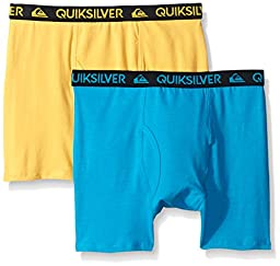 Quiksilver Little Boys\' Boxer Brief, Blue/Yellow, Small/6/7 (Pack of 2)