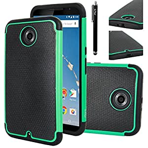 Nexus 6 Case, Nexus 6 Case, E LV Google Nexus 6 Case Cover - Dual Layer Armor Defender Protective Case Cover for Google Nexus 6 with 1 Stylus and 1 Screen Protector - TURQUOISE
