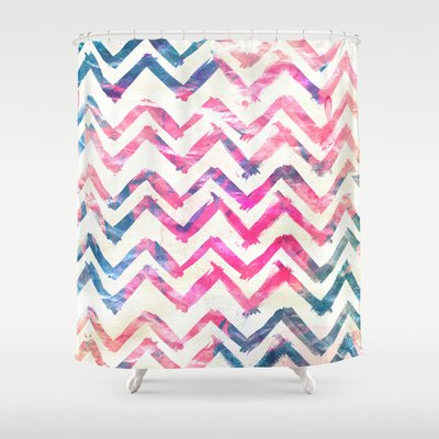 Abstract Pink Blue Chevron Pattern Art Watercolor Shower Curtain