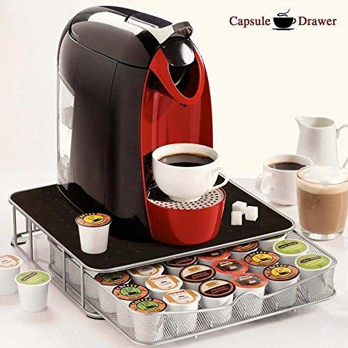Contenitore Cassetto Porta Capsule Cialde Caffè Metallo 30-60 Posti con Piano Poggia Macchina del Caffè Coffee Capsule Drawer