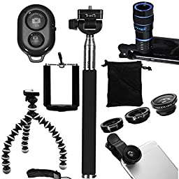 tyoungg® Cellphone Entertainment Full Kit 8-Zoom Telephoto Lens + Fish Eye Lens + Wide Angle Lens+ Macro Lens + Selfie Stick Monopod + Flexible Octopus Mini Tripod With Phone Holder And Bluetooth Remote Shutter for iPhone 6 iPhone 6 plus iPhone 5 5s 5c i