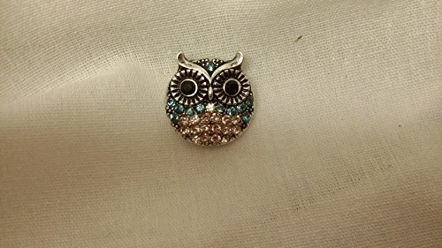 Buy Cheap Snap Charming Crystal Turquoise and Clear Owl Interchangable Jewelry Snap Accessory