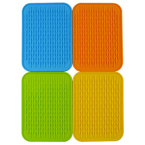 Baicfquk Hot Pads, 4-pack Silicone Pot Holder,trivet Mat, Non Slip, Flexible, Durable, Heat Resistant Hot Pads Perfect Modern Home Decor Silicone Heat Resistant Insulation Mat, Tableware Insulation Pad Potholders Insulation Non-slip Mat Square (6.2