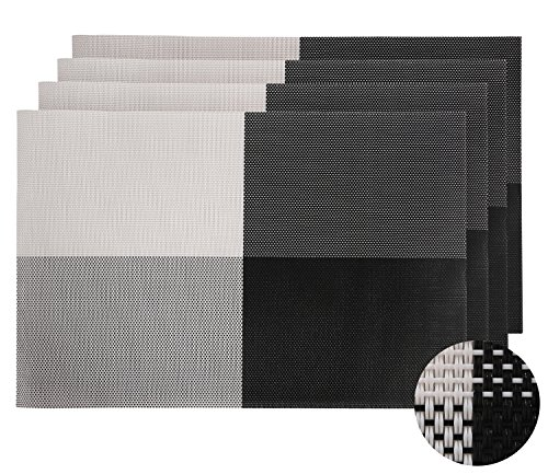 Deconovo Placemats Heat-resistant Placemats Washable Table Mats Placemats for Dining Table Splice Insulation Mats Black and White Set of 4