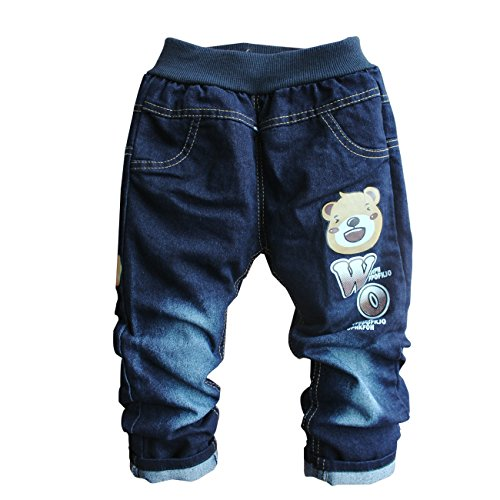 Little Hand Kid Boys Bear Cartoon Elastic Jean Soft Denim Pants Blue 2-3Y front-1036579
