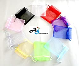A&S Creavention? Organza Drawstring Jewelry Pouches Bag Party Wedding Gift Bags Candy Bags - 100pcs (13x18cm, Mix 10 Colors) 10pcs on each Color