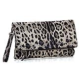 BMC Womens Creamy Gold Leopard Animal Print Faux Snake Skin Texture Foldover Wristlet Shoulder Strap Clutch Handbag