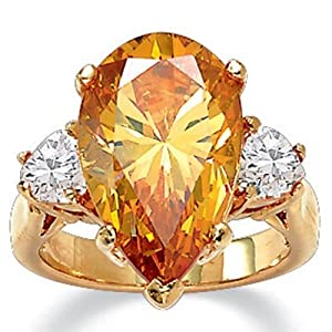 PalmBeach Jewelry 6.41 TCW Pear Cut Champagne-Color Cubic Zirconia Ring 14k Yellow Gold-Plated