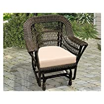 NorthCape International Manchester Wicker Cushion Arm Glider Patio Lounge Chair