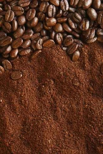 Coffee Beans and Ground Background, Warm Light - 36