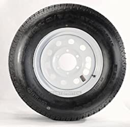 eCustomRim Radial Trailer Tire + Rim ST225/75R15 225/75-15 15″ Load Range D 6 Lug Wheel White Modular