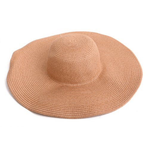 [HDE Women's Floppy Packable Wide Brim Sun Shade Derby Beach Straw Hat (Tan)] (Straw Farmer Hats)