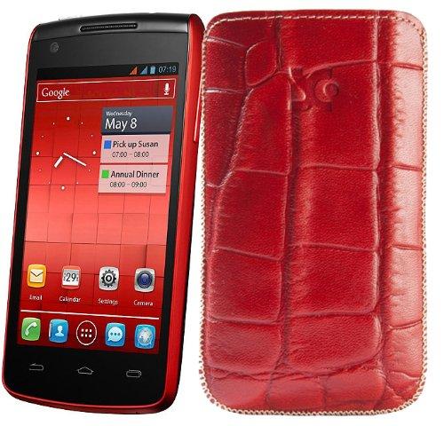 Original Suncase Tasche fuer / Alcatel One Touch 992D (Dual-Sim) / Leder Etui Handytasche Ledertasche Schutzhuelle Case Huelle - Lasche mit Rueckzugfunktion* In Croco-Rot