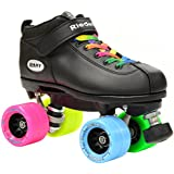 Riedell Dart Double Rainbow Quad Roller Derby Speed Skate w/ 2 Pair of Laces (Rainbow & Black)