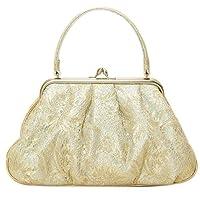 和装バッグ 単品 礼装用 山菱謹製 シルバー×ゴールド 唐花唐草模様レースがま口バッグ フォーマルバッグ