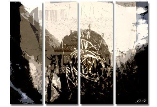TOP abstrakte Bilder! 4 teiliges Wandbild xxl günstig & modern (Gira_big-4x30x100cm) Deko Bilder fertig gerahmt mit Keilrahmen groß im Bilder Shop. Ausführung schöner Kunstdruck auf echter Leinwand als Wandbild mit Rahmen. Preiswerter als Ölbild Gemälde Foto Poster Plakat mit Bilderrahmen. Picture Style (abstrakt Formen Konturen Striche Schrift digitale Kunst grau schwarz). 100% Made in Germany.