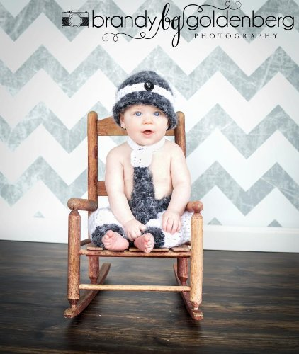 Photography Backdrops Wall/Floor Combo: 1- 5Ftx5Ft Grey Chevron, 1-5Ftx5Ft Walnut Wood - Portrait Drop Perfect For Kids! front-910592