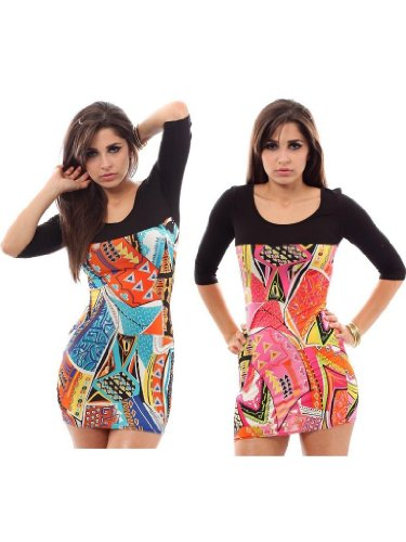 Mia Colour Contrast Mini Dress Tunic Top.