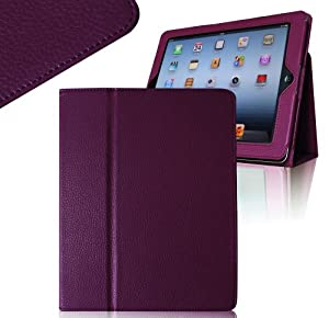 Invero® Slim Fit Leather Tablet Case Cover with Stand Feature for Apple Ipad 2, Ipad 3 Includes Screen Protector & Stylish Stylus Pen (Purple)