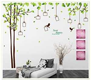 YYone Sweet Memory Character Tree and Green Leafs of Nine Picture Frame and Two Birds for Home Wall Decor from YYone