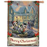Disney's Mickey & Minnie Mouse Decorative Seasoanl Holiday Flag With Thomas Kinkade Artwork by The Hamilton Collection