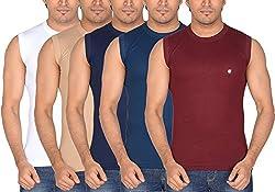 Dora Men's Cotton T-Shirts (Pack of 5, 1111_100, White, Dark Blue, Ink Blue, Maroon, Beige, 100)