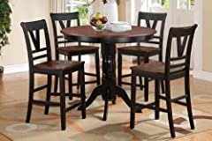 5 pc Viola V collection black finish wood legs and cherry finish wood tops counter height round dining table set with wood top seats