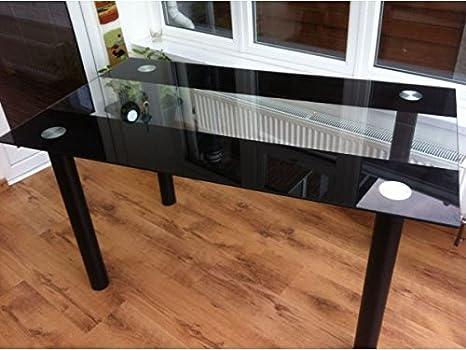 Superbe table de salle à manger en verre trempé noir et transparent