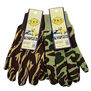 2 Pairs B&G Men's Camouflage Work Gloves Brown & Green