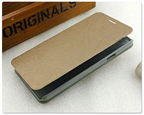 Tarkan Pudini PU Leather Slim Flip Cover Case with Convertible Back Stand for Micromax YU Yuphoria (Gold)