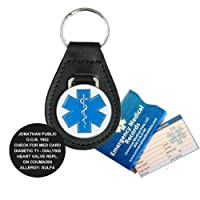 Leather Medical Alert ID Keychain (incl. personalized engraving) from Universal Medical Data