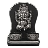 Archies Polyresin Ganesha Candle Holder (Silver, 12 cm x 7.5 cm x 16 cm)