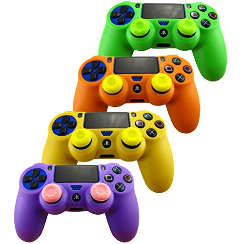 Pandaren Soft Silicone Skin for Ps4 Controller Set( Skin X 4 + Thumb Grip X 8)( Green, Orange, Purple, Yellow) (Ps4 Controller Protective Skin compare prices)