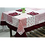 AURAVE Traditional Printed Four Seater Cotton Table Cover With Napkins
