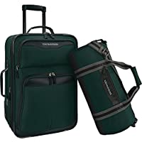 U.S. Traveler 2-Piece Carry-On Rolling Upright & Duffel Bag Luggage Set (Green / Orange)