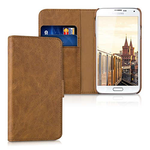 kalibri-Leder-Hlle-James-fr-Samsung-Galaxy-S5-S5-Neo-S5-LTE-S5-Duos-Echtleder-Schutzhlle-Wallet-Case-Style-mit-Karten-Fchern-in-Cognac