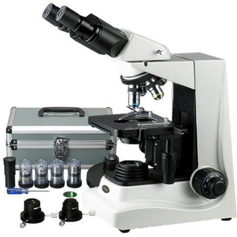 Amscope B600A-Pct-Dk Siedentopf Binocular Compound Microscope, 40X-1600X Brightfield/Darkfield (Bf/Df) Magnification, 100X-1600X Turret-Mounted Phase Contrast Magnification, Halogen Illumination, Abbe Condenser, Double-Layer Mechanical Stage, Anti-Mold