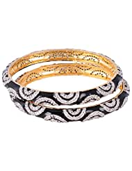 Bharat Sales Gold Plated Black Alloy Bangles For Women