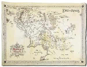 Herr der Ringe - Karte von Mittelerde Poster / Plakat - Pergament Karte echtes Pergamentpapier + 1 Überraschungsposter gratis!