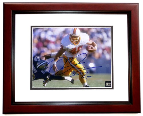 Mike Alstott Autographed / Hand Signed Tampa Bay Buccaneers 8x10 Throwback Rookie Photo - MAHOGANY CUSTOM FRAME