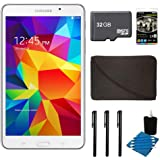 "Samsung Galaxy Tab 4 White 8GB 7"" Tablet, 32GB Card, and Case Bundle - Includes tablet, 32 GB Micro SD Memory Card, 7-8"" Sleeve for Tablets, Audio Earbuds with Microphone, 3 Stylus Pens with Pocket Clip, and 3pc. Lens Cleaning Kit"