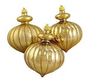 GKI Bethlehem Lighting Pack of 3 Shiny and Matte Gold Onion Shaped Shatterproof Christmas Ornaments 4