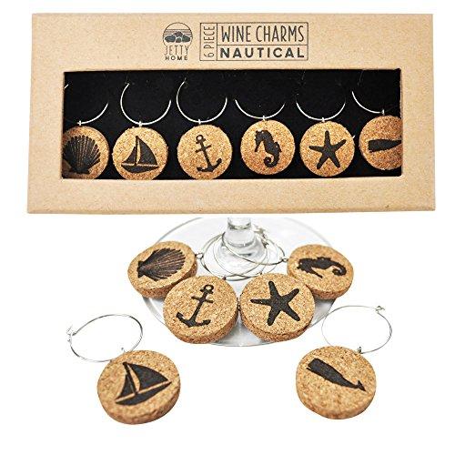 Jetty Home Nautical Beach Wine Glass Charm Gift Set (6 pcs)