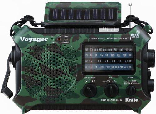 Kaito Voyager KA500 Solar/Crank Emergency AM/FM/SW NOAA Weather Radio, Camouflage