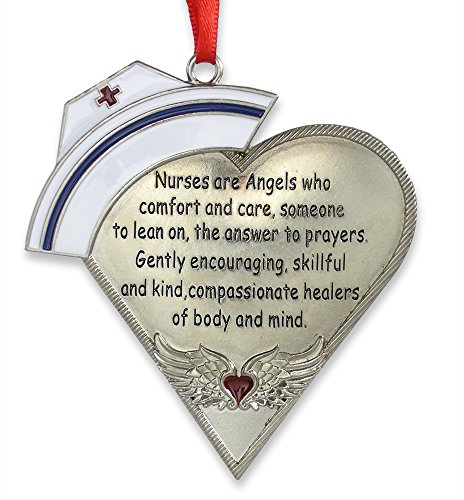 Nurse Heart Shaped Ornament with Message - Engraved Silver Metal with Hand Painted Enamel Caduceus Hat & Heart with Angel Wings - 4